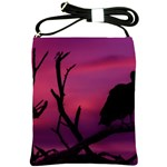 Vultures At Top Of Tree Silhouette Illustration Shoulder Sling Bags