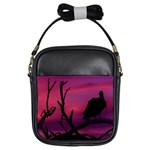Vultures At Top Of Tree Silhouette Illustration Girls Sling Bags Front