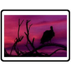 Vultures At Top Of Tree Silhouette Illustration Fleece Blanket (large)  by dflcprints
