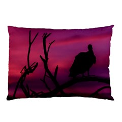 Vultures At Top Of Tree Silhouette Illustration Pillow Case (Two Sides)