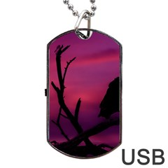 Vultures At Top Of Tree Silhouette Illustration Dog Tag Usb Flash (one Side) by dflcprints