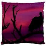 Vultures At Top Of Tree Silhouette Illustration Large Cushion Case (Two Sides)