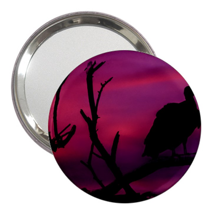 Vultures At Top Of Tree Silhouette Illustration 3  Handbag Mirrors