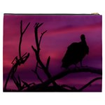 Vultures At Top Of Tree Silhouette Illustration Cosmetic Bag (XXXL)  Back