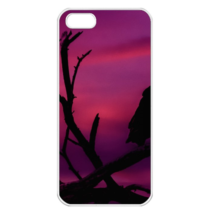 Vultures At Top Of Tree Silhouette Illustration Apple iPhone 5 Seamless Case (White)