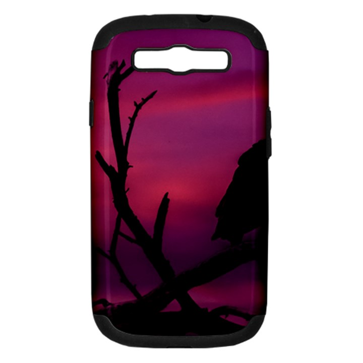 Vultures At Top Of Tree Silhouette Illustration Samsung Galaxy S III Hardshell Case (PC+Silicone)