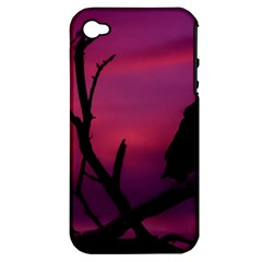 Vultures At Top Of Tree Silhouette Illustration Apple Iphone 4/4s Hardshell Case (pc+silicone) by dflcprints