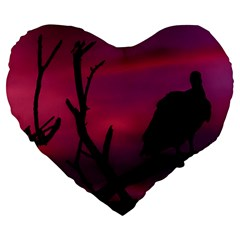 Vultures At Top Of Tree Silhouette Illustration Large 19  Premium Heart Shape Cushions by dflcprints