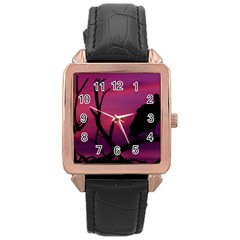 Vultures At Top Of Tree Silhouette Illustration Rose Gold Leather Watch