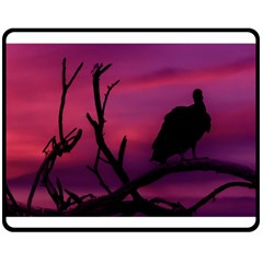 Vultures At Top Of Tree Silhouette Illustration Double Sided Fleece Blanket (medium)  by dflcprints