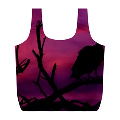 Vultures At Top Of Tree Silhouette Illustration Full Print Recycle Bags (l)  by dflcprints