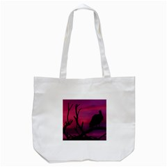 Vultures At Top Of Tree Silhouette Illustration Tote Bag (White)