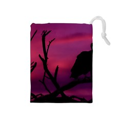 Vultures At Top Of Tree Silhouette Illustration Drawstring Pouches (medium)  by dflcprints