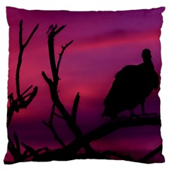 Vultures At Top Of Tree Silhouette Illustration Large Flano Cushion Case (one Side) by dflcprints