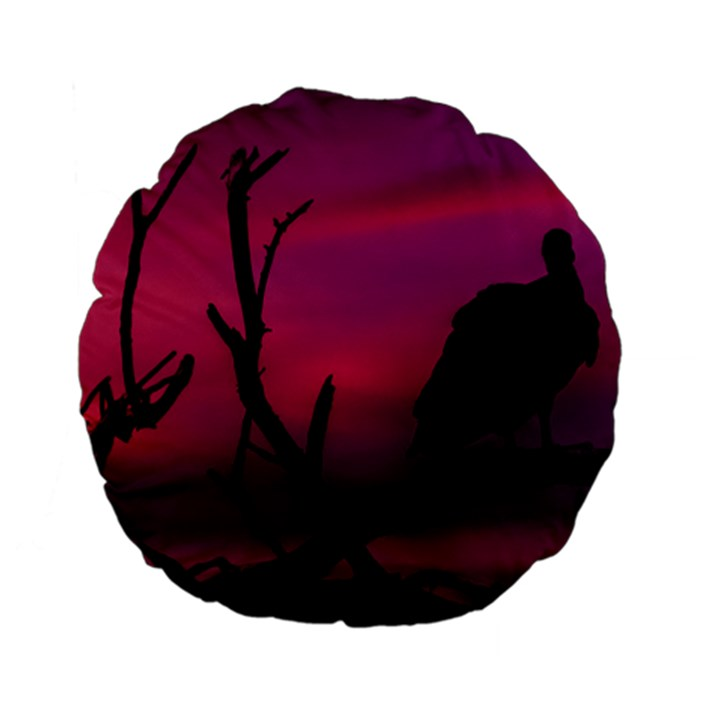 Vultures At Top Of Tree Silhouette Illustration Standard 15  Premium Flano Round Cushions