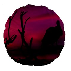 Vultures At Top Of Tree Silhouette Illustration Large 18  Premium Flano Round Cushions by dflcprints