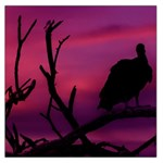 Vultures At Top Of Tree Silhouette Illustration Large Satin Scarf (Square)