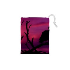 Vultures At Top Of Tree Silhouette Illustration Drawstring Pouches (xs)