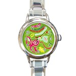 Green Organic Abstract Round Italian Charm Watch Front