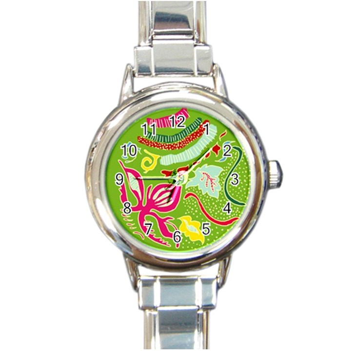 Green Organic Abstract Round Italian Charm Watch