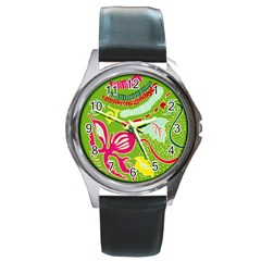Green Organic Abstract Round Metal Watch by DanaeStudio