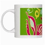 Green Organic Abstract White Mugs