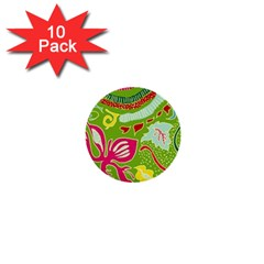 Green Organic Abstract 1  Mini Buttons (10 Pack)  by DanaeStudio