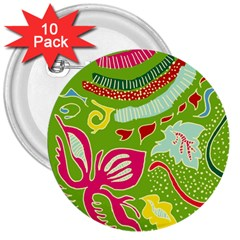 Green Organic Abstract 3  Buttons (10 pack)