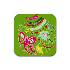 Green Organic Abstract Rubber Coaster (square)  by DanaeStudio
