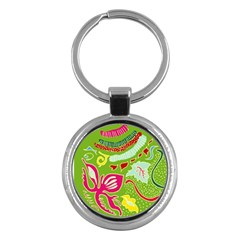 Green Organic Abstract Key Chains (round)  by DanaeStudio