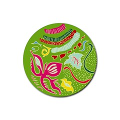 Green Organic Abstract Rubber Coaster (round)  by DanaeStudio