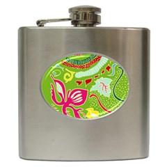 Green Organic Abstract Hip Flask (6 Oz) by DanaeStudio