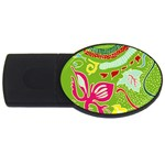 Green Organic Abstract USB Flash Drive Oval (2 GB)  Front