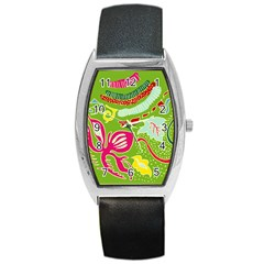Green Organic Abstract Barrel Style Metal Watch by DanaeStudio