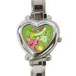Green Organic Abstract Heart Italian Charm Watch Front