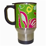 Green Organic Abstract Travel Mugs (White) Left