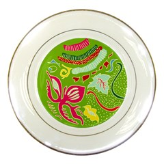 Green Organic Abstract Porcelain Plates