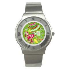 Green Organic Abstract Stainless Steel Watch