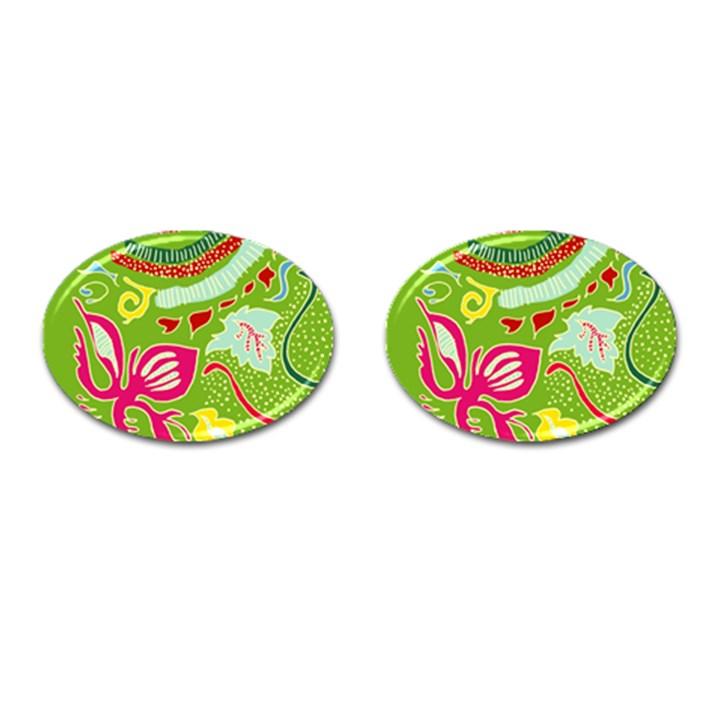 Green Organic Abstract Cufflinks (Oval)