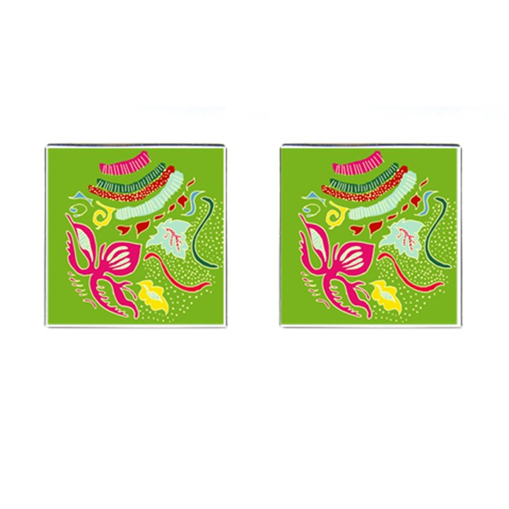 Green Organic Abstract Cufflinks (Square)