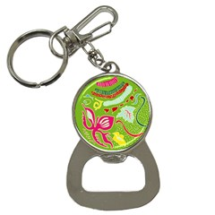 Green Organic Abstract Bottle Opener Key Chains by DanaeStudio