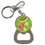 Green Organic Abstract Bottle Opener Key Chains Front