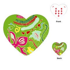 Green Organic Abstract Playing Cards (heart)  by DanaeStudio