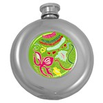 Green Organic Abstract Round Hip Flask (5 oz) Front