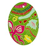 Green Organic Abstract Oval Ornament (Two Sides) Back