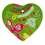 Green Organic Abstract Heart Ornament (2 Sides) Back