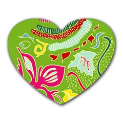 Green Organic Abstract Heart Mousepads