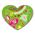 Green Organic Abstract Heart Mousepads Front