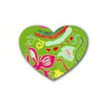Green Organic Abstract Rubber Coaster (Heart)  Front