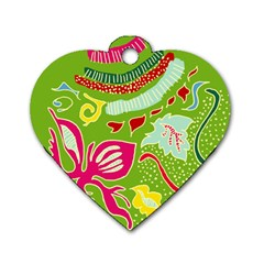 Green Organic Abstract Dog Tag Heart (two Sides) by DanaeStudio